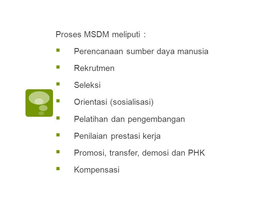 Proses MSDM meliputi :  Perencanaan sumber daya manusia  Rekrutmen  Seleksi  Orientasi (sosialisasi)  Pelatihan dan pengembangan  Penilaian prestasi kerja  Promosi, transfer, demosi dan PHK  Kompensasi
