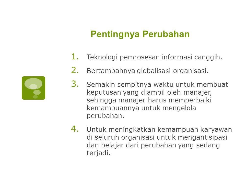 Pentingnya Perubahan 1.Teknologi pemrosesan informasi canggih.