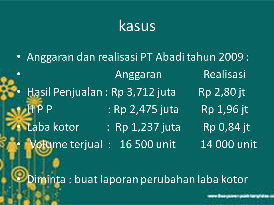 kasus Anggaran dan realisasi PT Abadi tahun 2009 : Anggaran Realisasi Hasil Penjualan : Rp 3,712 juta Rp 2,80 jt H P P : Rp 2,475 juta Rp 1,96 jt Laba