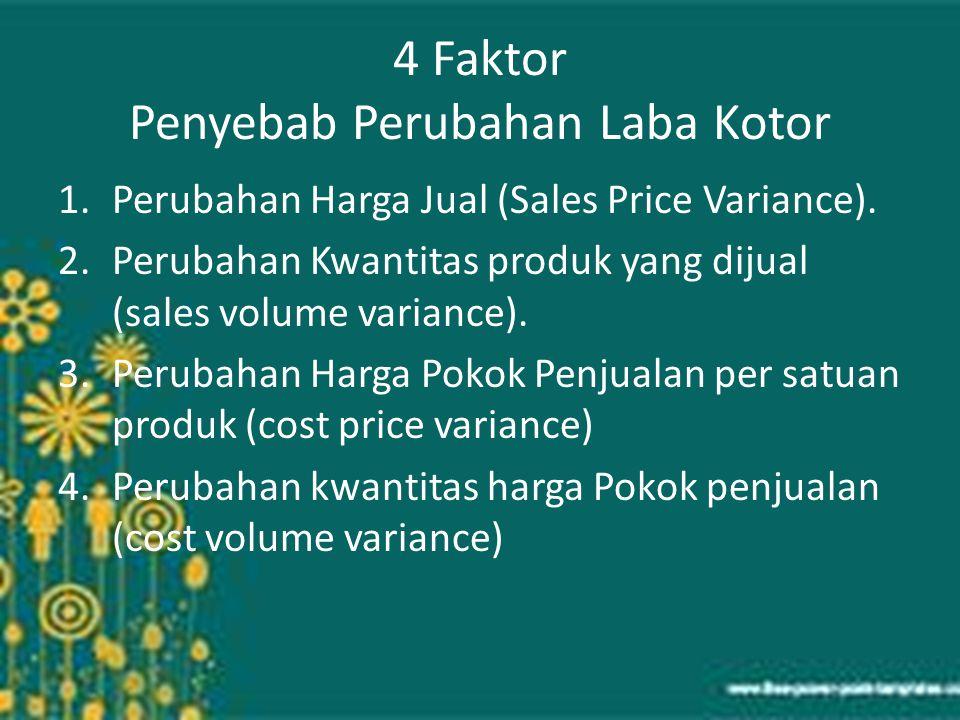 4 Faktor Penyebab Perubahan Laba Kotor 1.Perubahan Harga Jual (Sales Price Variance). 2.Perubahan Kwantitas produk yang dijual (sales volume variance)