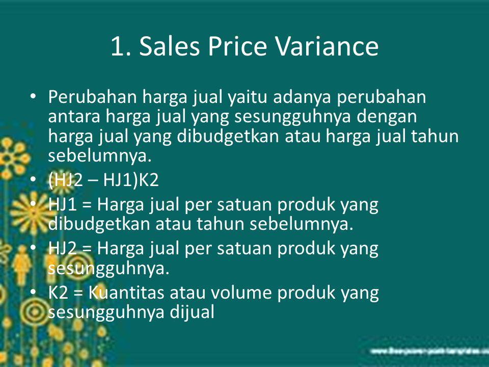 1. Sales Price Variance Perubahan harga jual yaitu adanya perubahan antara harga jual yang sesungguhnya dengan harga jual yang dibudgetkan atau harga