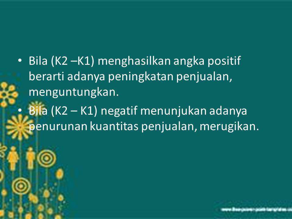 Bila (K2 –K1) menghasilkan angka positif berarti adanya peningkatan penjualan, menguntungkan. Bila (K2 – K1) negatif menunjukan adanya penurunan kuant