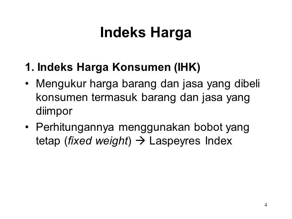 4 Indeks Harga 1. Indeks Harga Konsumen (IHK) Mengukur harga barang dan jasa yang dibeli konsumen termasuk barang dan jasa yang diimpor Perhitungannya