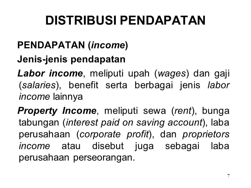 7 DISTRIBUSI PENDAPATAN PENDAPATAN (income) Jenis-jenis pendapatan Labor income, meliputi upah (wages) dan gaji (salaries), benefit serta berbagai jen