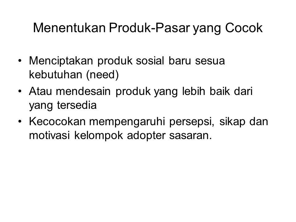 Menentukan Produk-Pasar yang Cocok Menciptakan produk sosial baru sesua kebutuhan (need) Atau mendesain produk yang lebih baik dari yang tersedia Keco