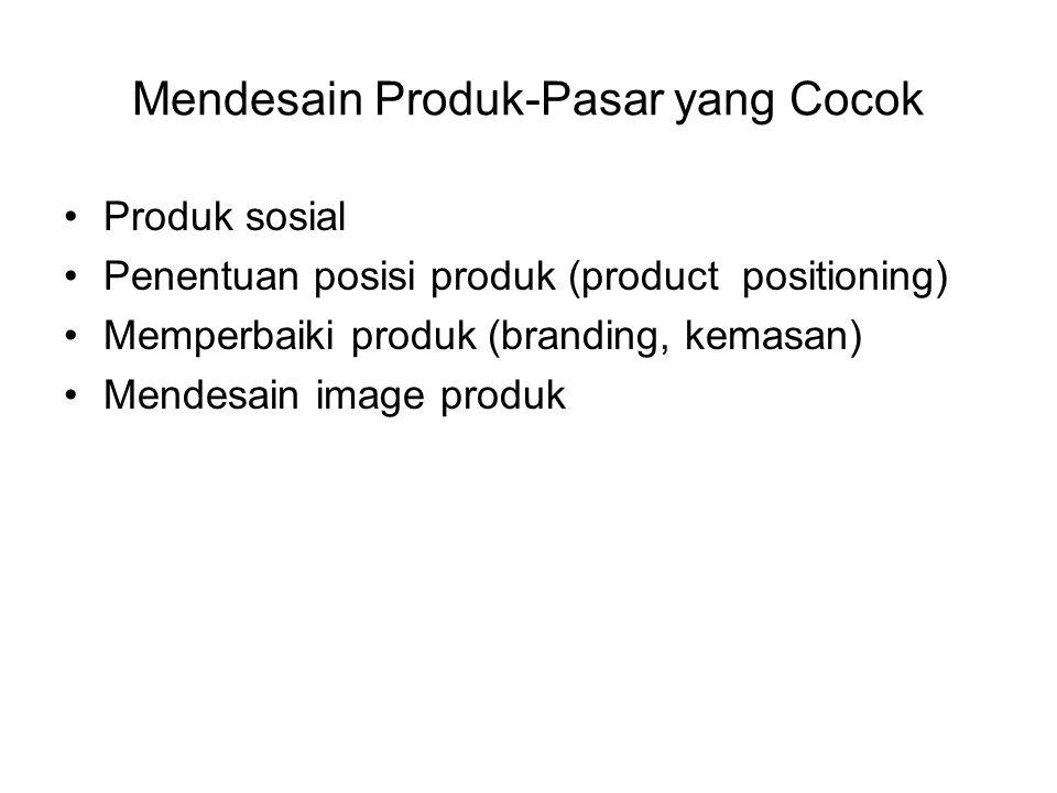 Mendesain Produk-Pasar yang Cocok Produk sosial Penentuan posisi produk (product positioning) Memperbaiki produk (branding, kemasan) Mendesain image p
