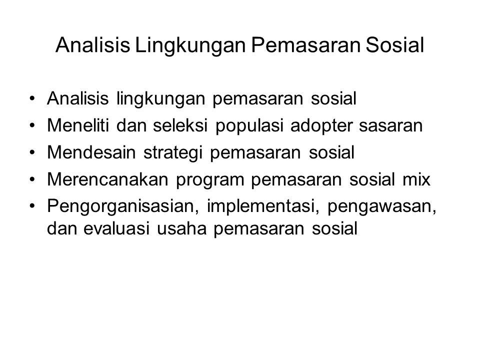 Analisis Lingkungan Pemasaran Sosial Analisis lingkungan pemasaran sosial Meneliti dan seleksi populasi adopter sasaran Mendesain strategi pemasaran s
