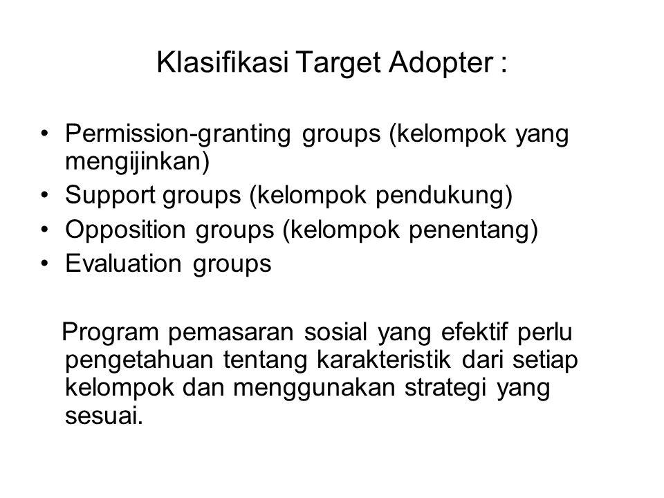 Klasifikasi Target Adopter : Permission-granting groups (kelompok yang mengijinkan) Support groups (kelompok pendukung) Opposition groups (kelompok pe