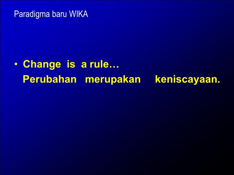 Paradigma baru WIKA Change is a rule… Perubahan merupakan keniscayaan.