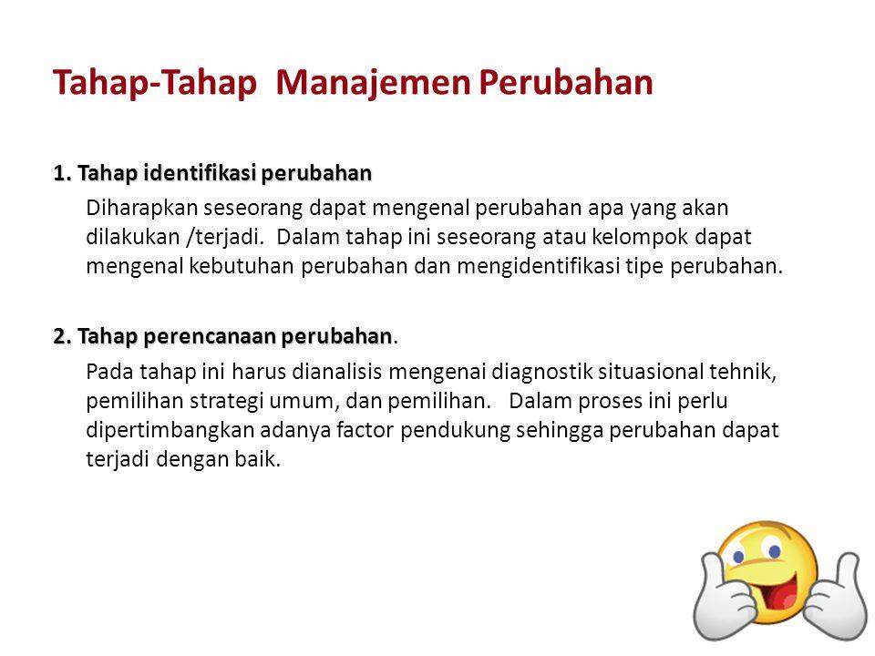 Tahap-Tahap Manajemen Perubahan 1. Tahap identifikasi perubahan Diharapkan seseorang dapat mengenal perubahan apa yang akan dilakukan /terjadi. Dalam