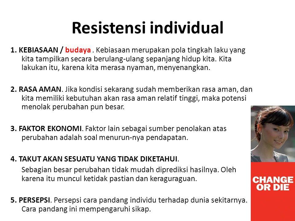 Resistensi individual 1. KEBIASAAN / budaya. Kebiasaan merupakan pola tingkah laku yang kita tampilkan secara berulang-ulang sepanjang hidup kita. Kit