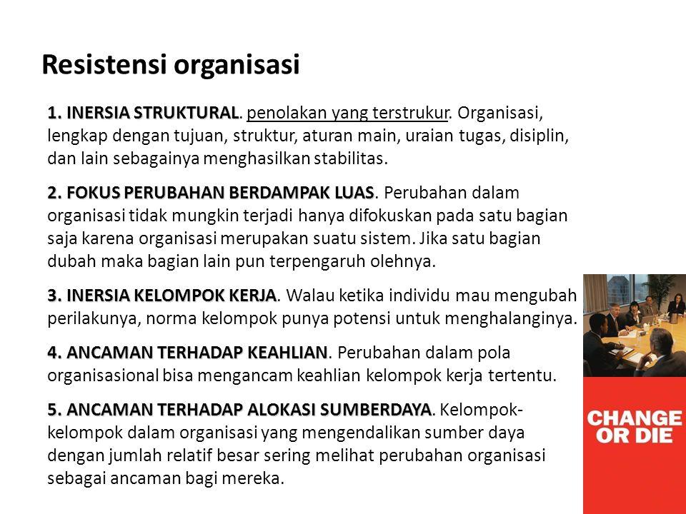 Resistensi organisasi 1. INERSIA STRUKTURAL 1. INERSIA STRUKTURAL. penolakan yang terstrukur. Organisasi, lengkap dengan tujuan, struktur, aturan main