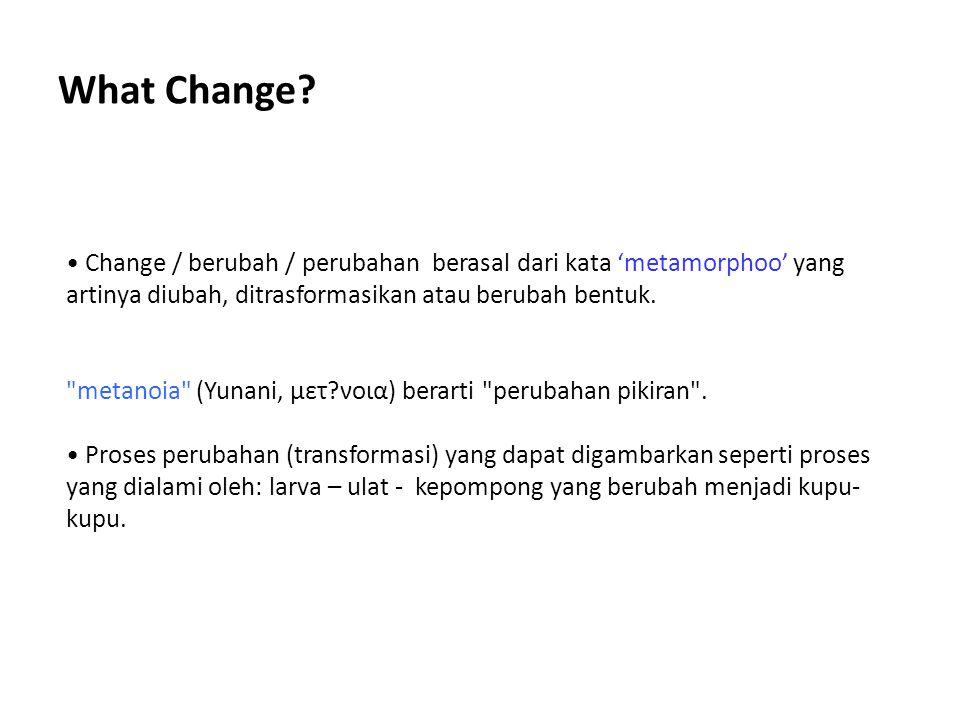What Change? Change / berubah / perubahan berasal dari kata 'metamorphoo' yang artinya diubah, ditrasformasikan atau berubah bentuk.