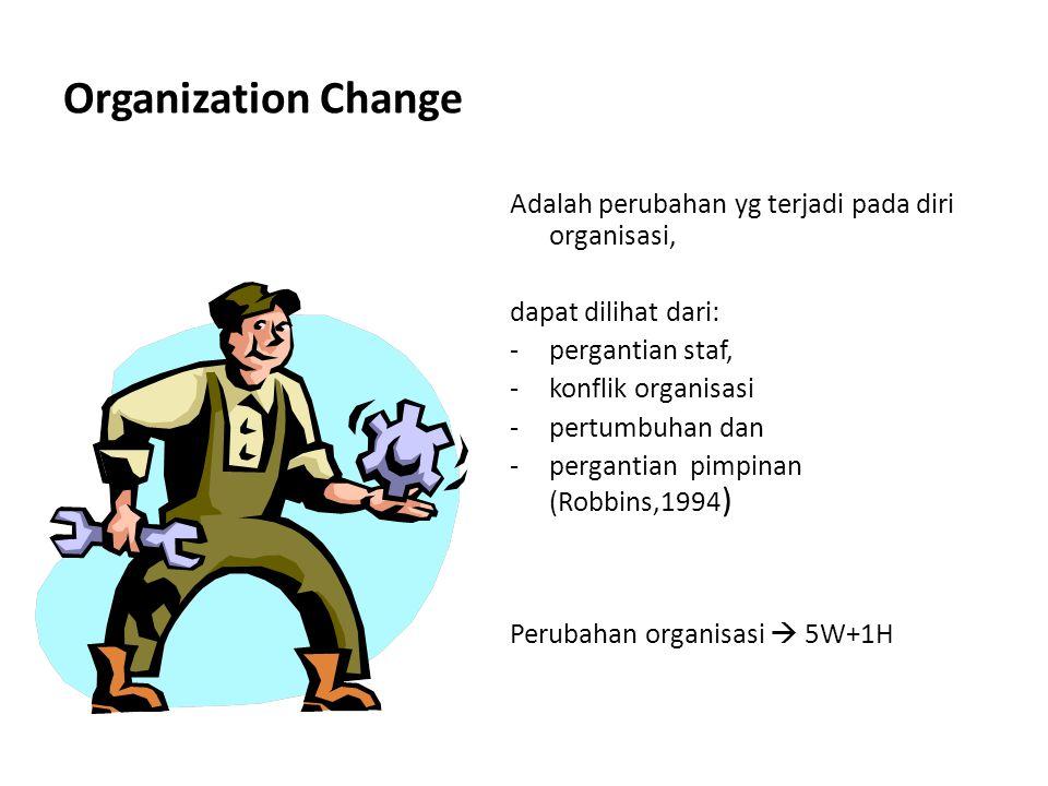 Organization Change Adalah perubahan yg terjadi pada diri organisasi, dapat dilihat dari: -pergantian staf, -konflik organisasi -pertumbuhan dan -perg