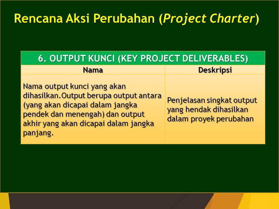 Rencana Aksi Perubahan (Project Charter) 6. OUTPUT KUNCI (KEY PROJECT DELIVERABLES) NamaDeskripsi Nama output kunci yang akan dihasilkan.Output berupa