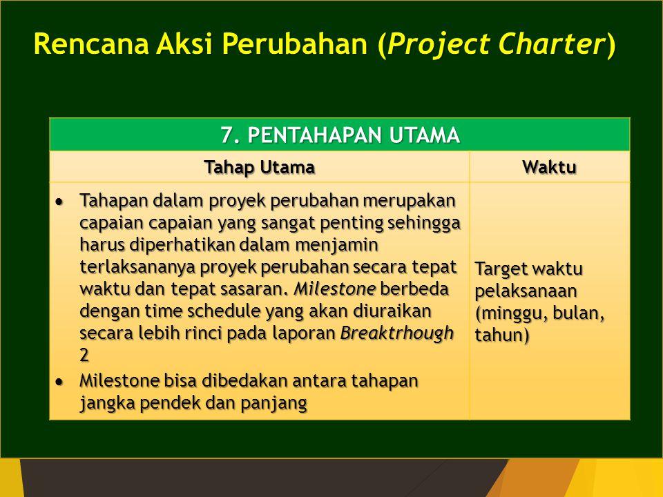 Rencana Aksi Perubahan (Project Charter) 7. PENTAHAPAN UTAMA Tahap Utama Waktu  Tahapan dalam proyek perubahan merupakan capaian capaian yang sangat