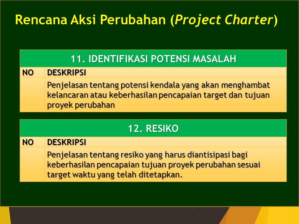 Rencana Aksi Perubahan (Project Charter) 11. IDENTIFIKASI POTENSI MASALAH NODESKRIPSI Penjelasan tentang potensi kendala yang akan menghambat kelancar