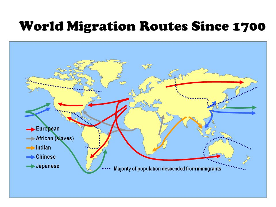 World Migration Routes Since 1700 European African (slaves) Indian Chinese Japanese Majority of population descended from immigrants