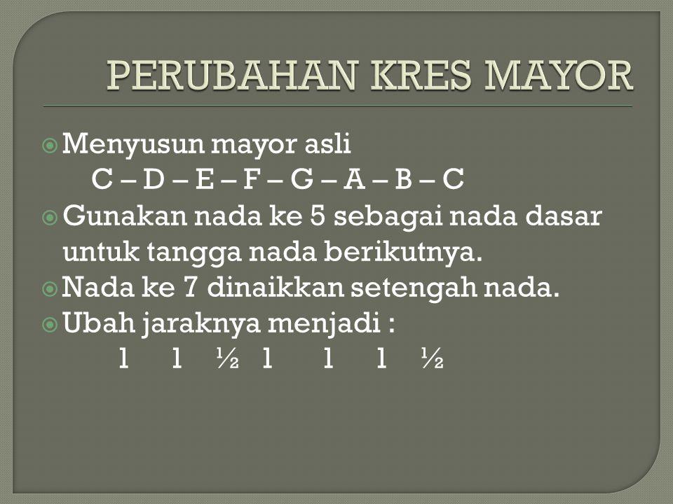  Menyusun mayor asli C – D – E – F – G – A – B – C  Gunakan nada ke 5 sebagai nada dasar untuk tangga nada berikutnya.  Nada ke 7 dinaikkan setenga