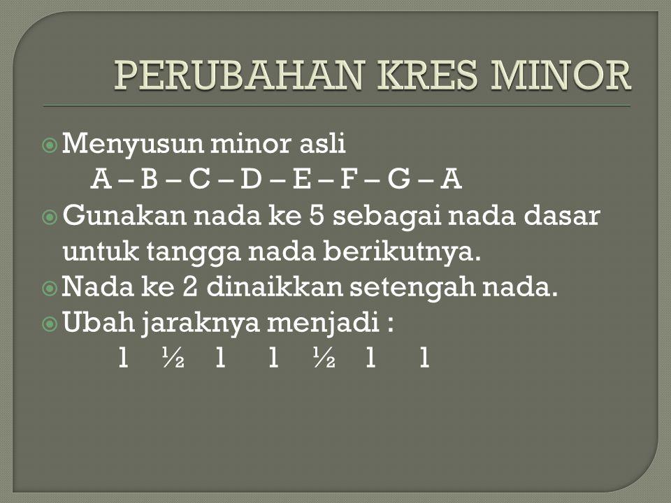  Menyusun minor asli A – B – C – D – E – F – G – A  Gunakan nada ke 5 sebagai nada dasar untuk tangga nada berikutnya.  Nada ke 2 dinaikkan setenga