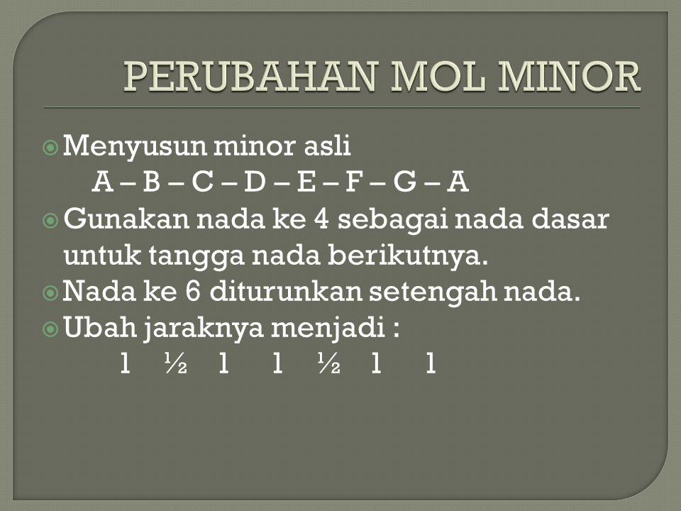  Menyusun minor asli A – B – C – D – E – F – G – A  Gunakan nada ke 4 sebagai nada dasar untuk tangga nada berikutnya.  Nada ke 6 diturunkan seteng