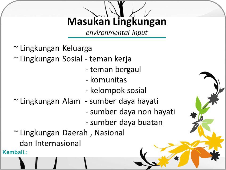 Masukan Lingkungan environmental input ~ Lingkungan Keluarga ~ Lingkungan Sosial - teman kerja - teman bergaul - komunitas - kelompok sosial ~ Lingkun