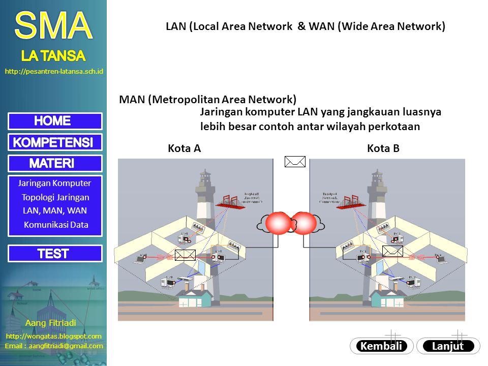 http://pesantren-latansa.sch.id Jaringan Komputer Topologi Jaringan LAN, MAN, WAN MAN (Metropolitan Area Network) Jaringan komputer LAN yang jangkauan luasnya lebih besar contoh antar wilayah perkotaan LanjutKembali Kota AKota B LAN (Local Area Network & WAN (Wide Area Network) Komunikasi Data Aang Fitriadi Email : aangfitriadi@gmail.com http://wongatas.blogspot.com