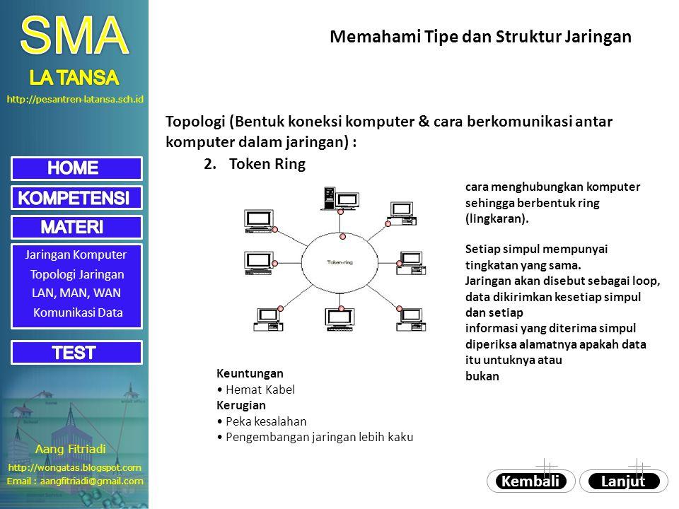 http://pesantren-latansa.sch.id Jaringan Komputer Topologi Jaringan 2.Token Ring cara menghubungkan komputer sehingga berbentuk ring (lingkaran).