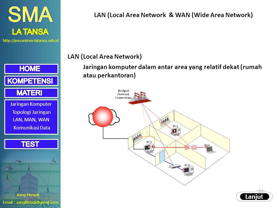 http://pesantren-latansa.sch.id Aang Fitriadi Email : aangfitriadi@gmail.com Jaringan Komputer Topologi Jaringan LAN, MAN, WAN LAN (Local Area Network) Jaringan komputer dalam antar area yang relatif dekat (rumah atau perkantoran) LAN (Local Area Network & WAN (Wide Area Network) Lanjut Komunikasi Data