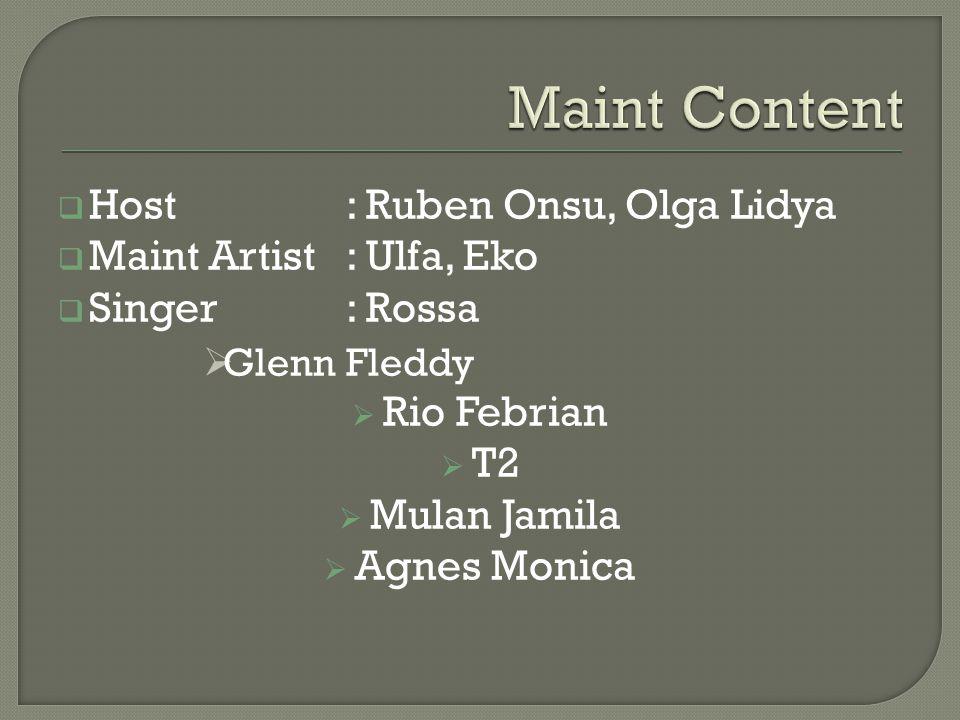  Host: Ruben Onsu, Olga Lidya  Maint Artist: Ulfa, Eko  Singer: Rossa  Glenn Fleddy  Rio Febrian  T2  Mulan Jamila  Agnes Monica
