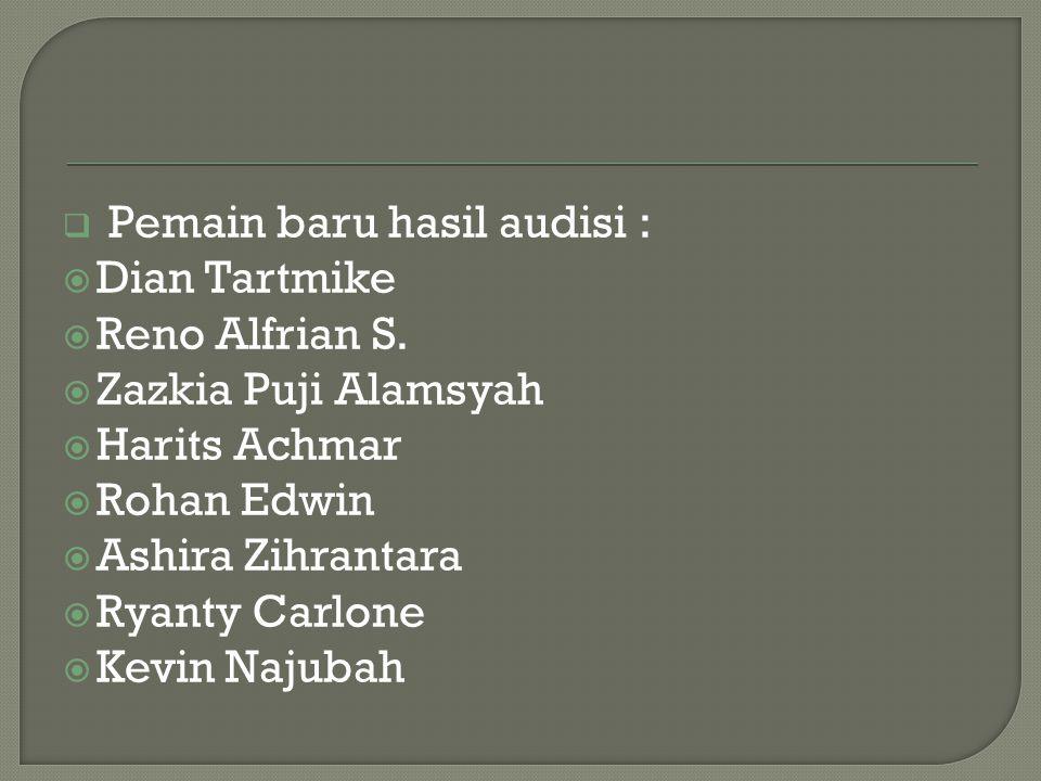  Pemain baru hasil audisi :  Dian Tartmike  Reno Alfrian S.  Zazkia Puji Alamsyah  Harits Achmar  Rohan Edwin  Ashira Zihrantara  Ryanty Carlo
