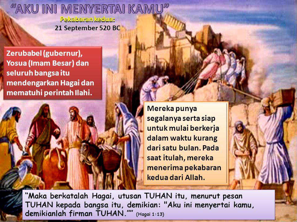 Hal itu setelah pekabaran yang kedua dari Hagai dimana bangsa itu merasa bahwa Tuhan sungguh-sungguh dengan mereka.