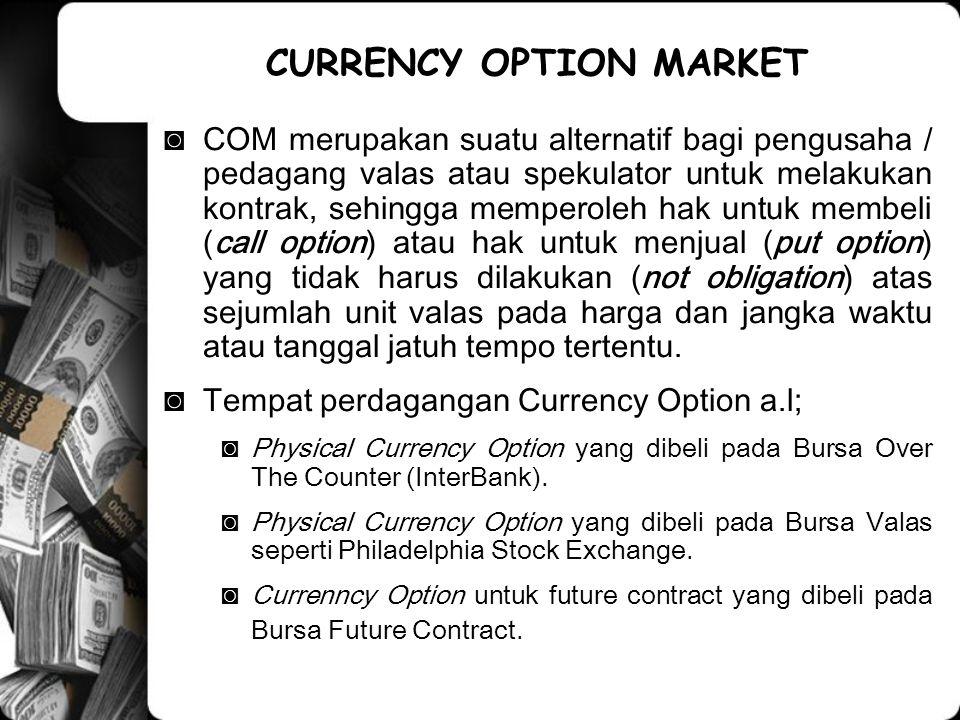 ◙COM merupakan suatu alternatif bagi pengusaha / pedagang valas atau spekulator untuk melakukan kontrak, sehingga memperoleh hak untuk membeli (call o