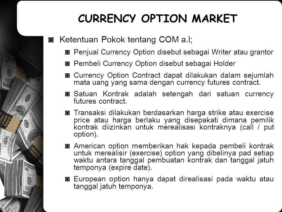 ◙Ketentuan Pokok tentang COM a.l; ◙Penjual Currency Option disebut sebagai Writer atau grantor ◙Pembeli Currency Option disebut sebagai Holder ◙Curren