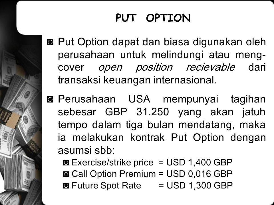 ◙Put Option dapat dan biasa digunakan oleh perusahaan untuk melindungi atau meng- cover open position recievable dari transaksi keuangan internasional