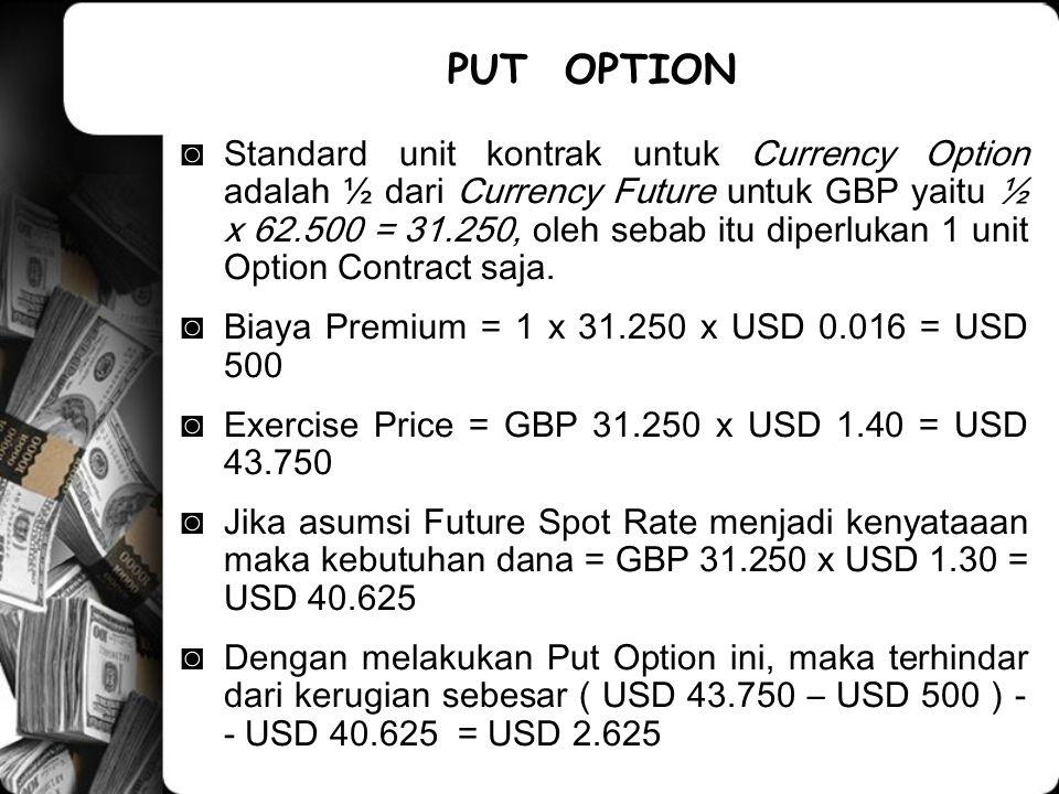 ◙Standard unit kontrak untuk Currency Option adalah ½ dari Currency Future untuk GBP yaitu ½ x 62.500 = 31.250, oleh sebab itu diperlukan 1 unit Option Contract saja.