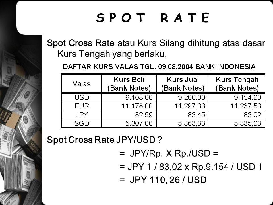 Spot Cross Rate atau Kurs Silang dihitung atas dasar Kurs Tengah yang berlaku, Spot Cross Rate JPY/USD ? = JPY/Rp. X Rp./USD = = JPY 1 / 83,02 x Rp.9.