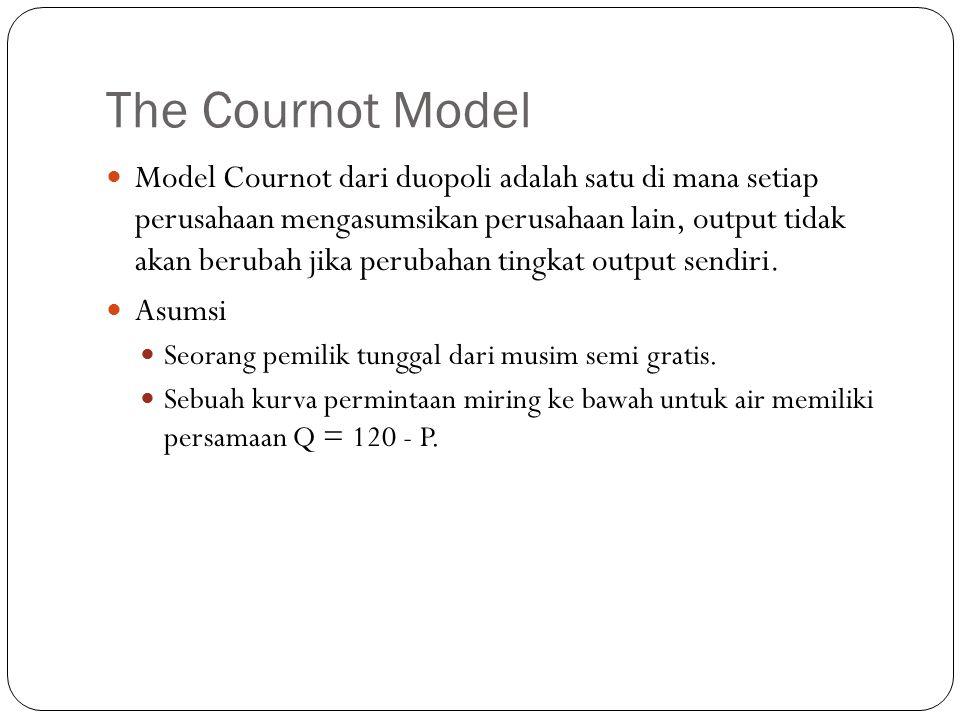 The Cournot Model Model Cournot dari duopoli adalah satu di mana setiap perusahaan mengasumsikan perusahaan lain, output tidak akan berubah jika perubahan tingkat output sendiri.