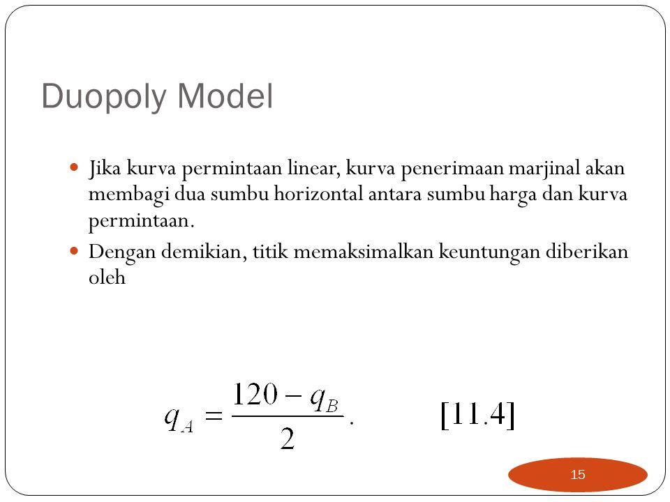 Duopoly Model Jika kurva permintaan linear, kurva penerimaan marjinal akan membagi dua sumbu horizontal antara sumbu harga dan kurva permintaan.