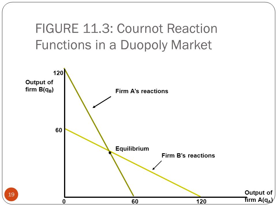 FIGURE 11.3: Cournot Reaction Functions in a Duopoly Market 19 Output of firm B(q B ) 120 60 Firm A's reactions Equilibrium Firm B's reactions Output of firm A(q A ) 601200