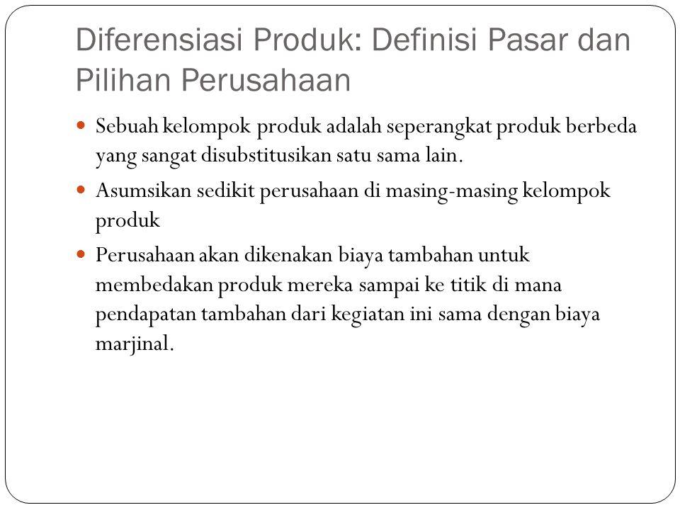 Diferensiasi Produk: Definisi Pasar dan Pilihan Perusahaan Sebuah kelompok produk adalah seperangkat produk berbeda yang sangat disubstitusikan satu sama lain.
