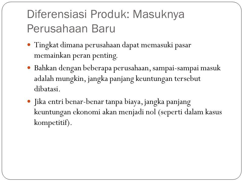 Diferensiasi Produk: Masuknya Perusahaan Baru Tingkat dimana perusahaan dapat memasuki pasar memainkan peran penting.