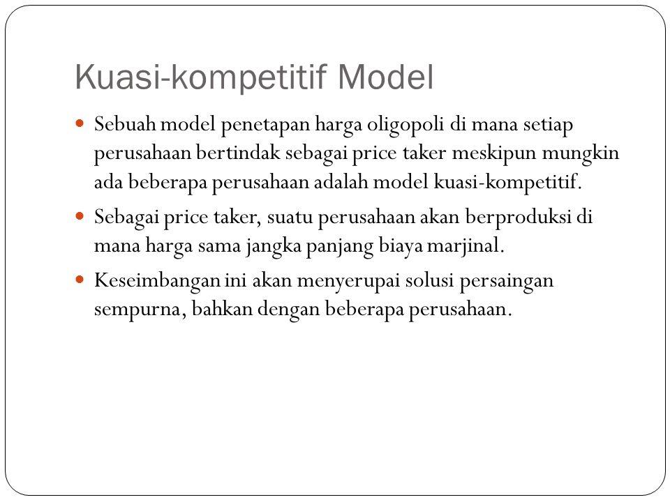 Kuasi-kompetitif Model Sebuah model penetapan harga oligopoli di mana setiap perusahaan bertindak sebagai price taker meskipun mungkin ada beberapa perusahaan adalah model kuasi-kompetitif.
