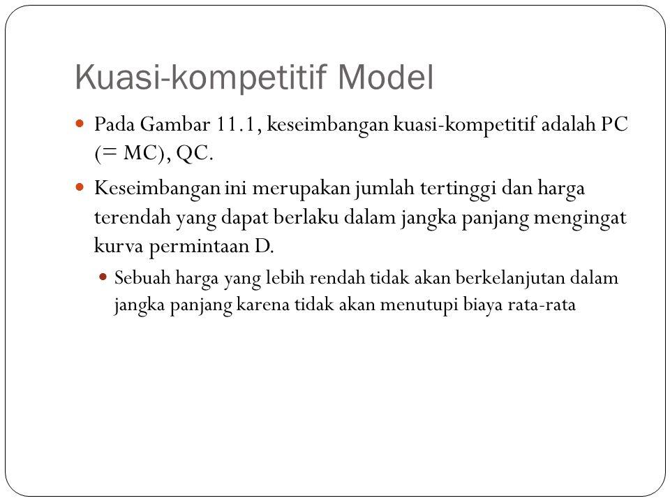 Kuasi-kompetitif Model Pada Gambar 11.1, keseimbangan kuasi-kompetitif adalah PC (= MC), QC.