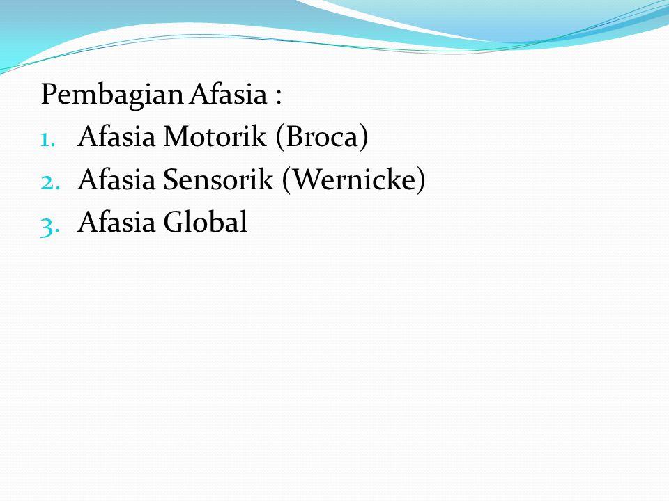 Pembagian Afasia : 1. Afasia Motorik (Broca) 2. Afasia Sensorik (Wernicke) 3. Afasia Global