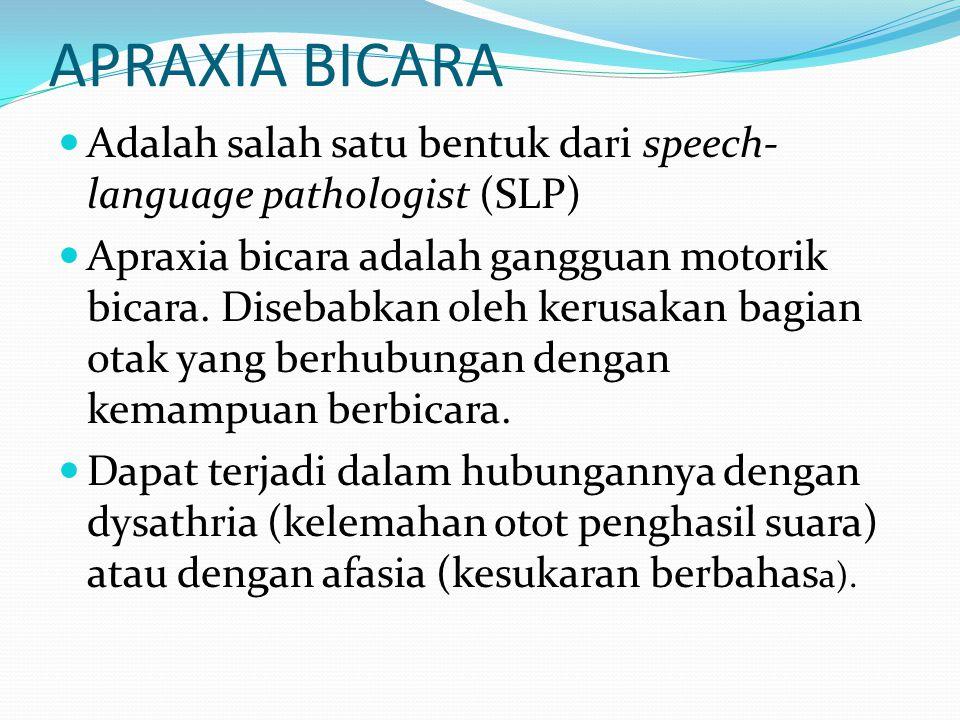 APRAXIA BICARA Adalah salah satu bentuk dari speech- language pathologist (SLP) Apraxia bicara adalah gangguan motorik bicara. Disebabkan oleh kerusak
