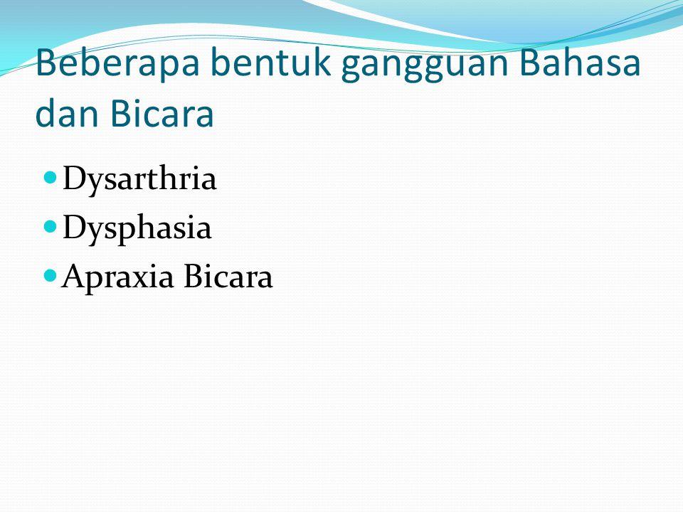 Beberapa bentuk gangguan Bahasa dan Bicara Dysarthria Dysphasia Apraxia Bicara