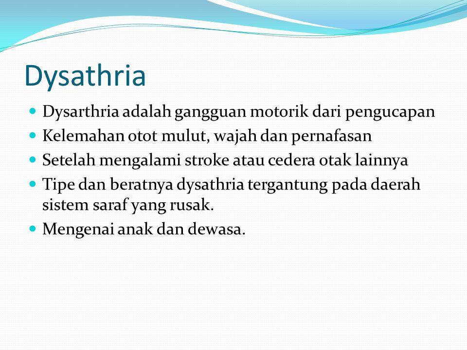 Penyebab dysarthria : stroke, head injury, cerebral palsy, dan muscular dystrophy Tanda dan gejala :  - Bicara pelo  - Lunak dan lafaz tidak tajam  - Lambat  - Terbatasnya gerakan lidah, bibir dan rahang