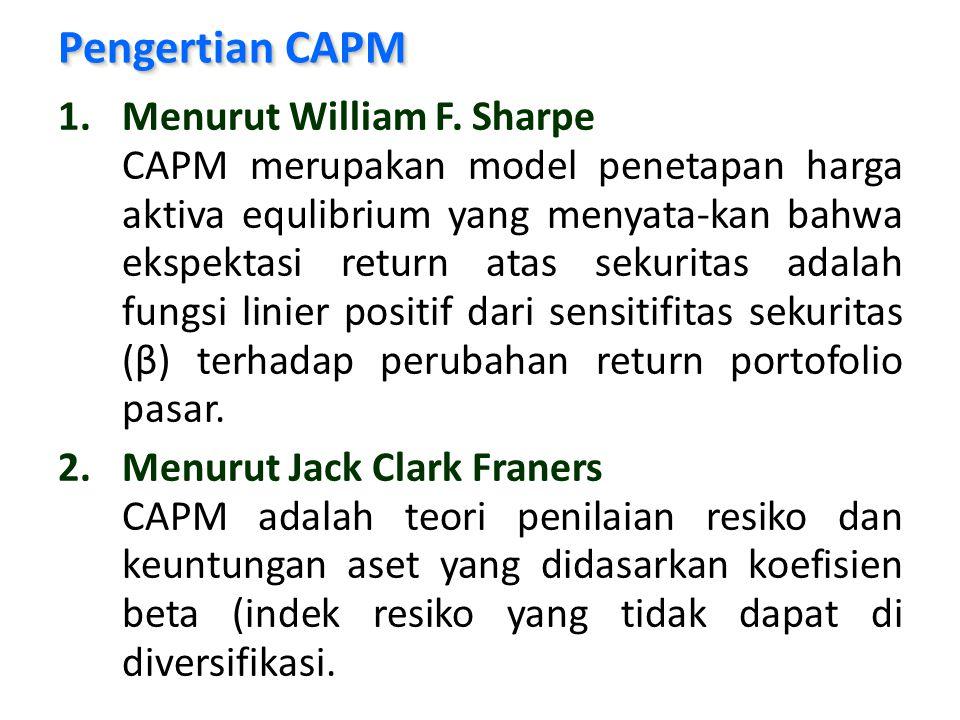 Dalam hubungannya dengan CAPM, pertanyaan yang akan dijawab adalah : 1.Menghitung rata-rata mean, varian, deviasi standar, kovarian proyek 1 dengan pasar, kovarian proyek 1 dan proyek 2, koefisien korelasi proyek dengan R M dan koefisien korelasi proyek 1 dan proyek 2.
