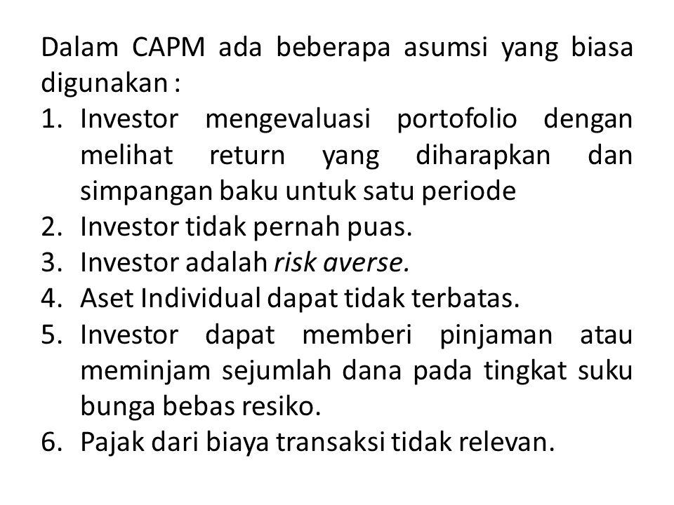 Rumus CAPM untuk return saham : Rumus CAPM untuk expected return saham i Dimana : R i =return saham i R f = return investasi i bebas resiko (risk free) β i =beta saham i (resiko sistematik) R m =return pasar
